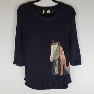 ANTHROPOLOGIE MOTH Navy Sweater w/ Horse Woven In